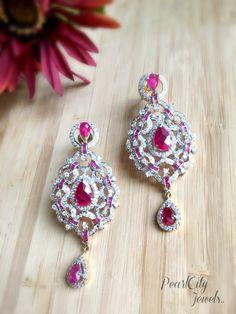 American Diamond and Ruby Earrings Bridal by PearlCityJewelry