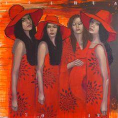 """Saatchi Online Artist: Pascale Taurua; Paint Painting """"Rouge vermillon"""""""