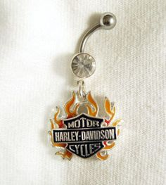 Harley Davidson Charm Belly Navel Ring - Flames Clear White Crystal CZ