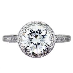 Diamond+Engagement+Rings | ... Engagement Rings » 2 Carat Round Diamond Halo Setting Engagement Ring