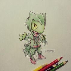 Photo by itsbirdy: Hoenn starters! Here's #Treecko in a sweet #Sceptile hoodie, and check out those kicks. #pokemon #art #sketch #drawing