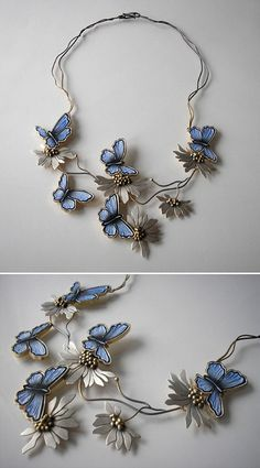 Necklace | Jolanta Bromke. Sterling silver and natural leather, hand painted with water and abrasion resistant paint.