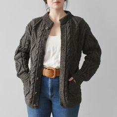35cf3a7bdc9871 vintage wool cable knit cardigan sweater Vintage Wool, Vintage Sweaters,  Cable Knit Cardigan,
