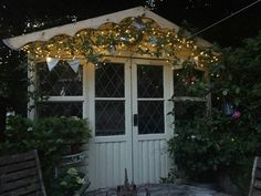 My magical summerhouse. I just love fairy lights in the garden at Bobbin Cottage. Summer House Interiors, Summer Houses, Love Fairy, Fairy Lights, Sheds, My Dream Home, New Homes, Spa, Gardens