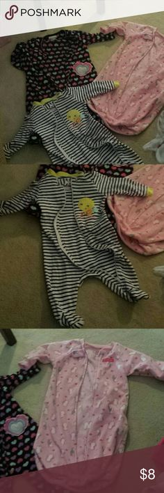 Infant sleepers Two are warn fleecy. One fleecy is a sack and says 0-9months. Others are 3-6.  All brand names and in great shape Carter's Pajamas
