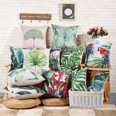 Forest Green Parrot Turtle Banana Leaves Cotton decorative Pillow covers for…