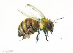 Honey Bee, Original watercolor painting, 9 X 12 in, bee art, bee painting, bee lover