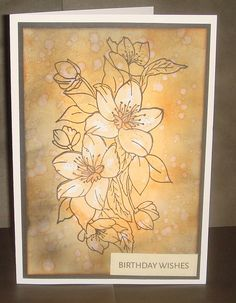 Stamped image with an inked background and splashes of colour. Centre flowers stamped again and lightly coloured. Birthday Wishes, Color Splash, I Card, Centre, Vintage World Maps, Stamp, Ink, Colour, Flowers