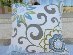 18x18 inch Decorative Floral Flower Print Throw Pillow Cover - White Grey Blue Green Yellow Turquoise- Spring Summer Designer Fabric. $20.00, via Etsy.