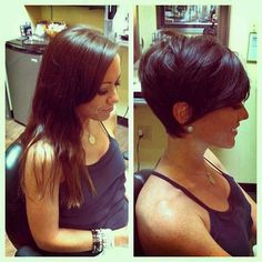 Longer isn't always better! Love this cut! Most girls look more mature with short hair. And I know some girls who should go shorter (even if not this dramatic because their hair looks thin or ratty.)