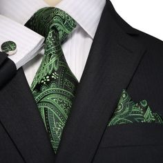 Green and Black Paisley Necktie Set JPM18E01 – Toramon Necktie Company