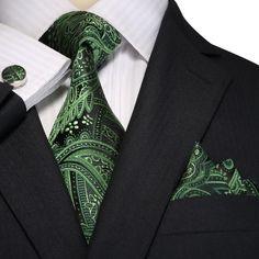 Green and Black Paisley Necktie Set JPM18E01 – Toramon Necktie Company