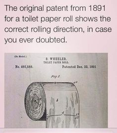 Correct rolling direction of toilet paper- as illustrated in the patent diagram...