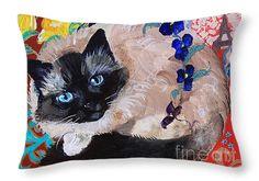 """Kitty Goes to Paris Throw Pillow 20"""" x 14"""""""
