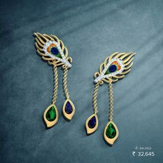 Peacock feathers Pendant Jewelry, Jewelry Art, Antique Jewelry, Gold Jewelry, Gold Earrings Designs, Gold Jewellery Design, Trendy Jewelry, Fashion Jewelry, Peacock Jewelry