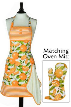 Summer Oranges Bib Apron with Towel.  Super Cute.