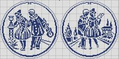 Pierrot and Columbine - Charts for cross stitch or filet crochet.