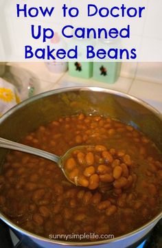 A few additions on how to improve canned baked beans and you will never go back to plain baked beans from the can. *i used Honey Baked beans, spicy mustard, brown sugar, PD seasoning, bacon Crockpot Baked Beans, Baked Beans In Oven, Bushs Baked Beans Recipe, Canned Beans Recipe, Simple Baked Beans Recipe, Baked Beans From Scratch, Vegetarian Baked Beans, Canned Baked Beans, Baked Beans With Bacon