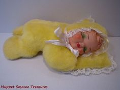 Sleeping lullaby plush doll...mine was blue and a friend sat on her and cracked her head