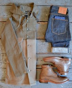 independencechicago:  Nigel Cabourn - Cameraman in Army & Stone Joe McCoys - 904S Apolis - Pocket Square Oak Street Bootmakers - Trench Boot