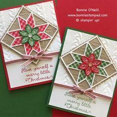 pair of handmade Christmas cards . Stampin' Up! Christmas Cards 2017, Homemade Christmas Cards, Stampin Up Christmas, Xmas Cards, Homemade Cards, Holiday Cards, Christmas Tag, Merry Little Christmas, Handmade Christmas