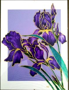 """Tableau peinture sur verre - Peinture """"vitrail"""" - Sous-verre Dimensions 30 x 40 Iris violets, cœurs dorés. Feuilles et tiges couleur émeraude. Cerne doré. Fond blanc et mauv - 13738725"""