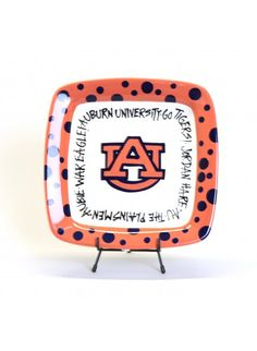 Auburn University Logo Hand-Painted Polka Dot Square Serving Plate - Perfect Pottery for a gift or Tailgating