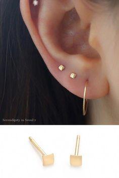 14k Gold 2.5mm Milgrain Edged Diamond Cut Huggie Hoop Cartilage Earrings 9.5mm