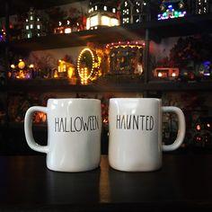 Rae Dunn Halloween mugs.