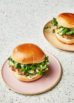 Honestly the best salmon burger I've ever had. But don't make ahead. They are best when eaten fresh from the pan Sushi Burger, Quick Pickled Cucumbers, Pickling Cucumbers, Naan, Bon Appetit, A Food, Food And Drink, Zucchini Puffer, Cucumber Recipes