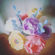 "My work 😃 DM to order or check out http://www.HandmadePaperGarden.etsy.com/- @handmadepapergarden on Instagram: ""#Rainbow #Sherbet - paper flowers available in my @etsy shop soon #peonies #ranunculus #pink…"""