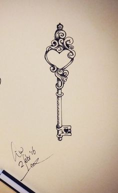 open up ༺ tattoo key clef cle key illustration Bild Tattoos, Up Tattoos, Body Art Tattoos, Tattoos For Guys, Tattoos Of Keys, Garter Tattoos, Rosary Tattoos, Bracelet Tattoos, Heart Tattoos