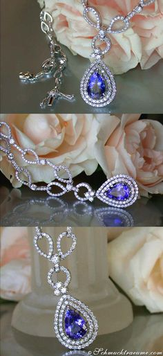 Glamorous: Tanzanite Diamond Necklace, 5,50 cts. WG-18K - Find out: schmucktraeume.com - Like: https://www.facebook.com/pages/Noble-Juwelen/150871984924926 - Contact: info@schmucktraeume.com