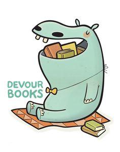 """Devour Books"" print."