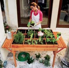 Criações geniais Plant Table, Garden Table, Herb Garden, Micro Garden, Garden Soil, Easy Garden, Patio Table, Potager Palettes, Organic Gardening Tips