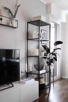 Home Living Room, Apartment Living, Living Room Designs, Living Room Gray, Black And White Living Room Decor, White Apartment, Kitchen Living, Kitchen Decor, Grey Wall Decor