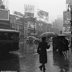 New York's Times Square on a rainy day in March, 1943.