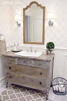 Guest Bathroom Makeover {Reveal} – The Rustic Elk Homestead Guest Bathroom Makeover {Reveal} TIDBITS&TWINE Guest Bathroom Remodel – A mix of modern and vintage styles} love the antique dresser turned into bathroom vanity.the finish is perfect Guest Bathroom Remodel, Diy Bathroom Vanity, Bathroom Styling, Bathroom Renovations, Bathroom Ideas, Diy Vanity, Bathroom Mirrors, White Bathroom, Bathroom Makeovers