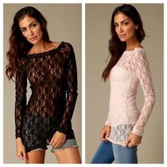Free People Lace Overlay Long Sleeve I have three of these available, two white, and one black. All size large, all in excellent condition. Perfect to wear over a bralette, tank top, or slip. Will sell as a bundle, or separately. Asking $90 for all 3, or $34 each. ✳️Please don't buy this listing if you only want one, ask me to make you a separate listing!✳️ Smoke/pet free home. Ask all questions before buying! No trades. Lowball offers will not be considered! ❌ Prices are firm ✋ Free People…
