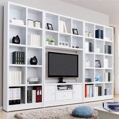 Afbeeldingsresultaat voor tv wall with billy bookcases