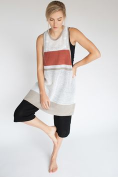 Kordal for Mavenhaus Collective WHITE RACERBACK TUNIC WITH PENNY AND LINEN STRIPES