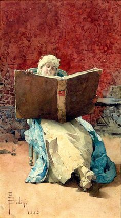 The Reading, 1885. Paolo Bedini (1844-1924) Italian painter.