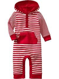 Striped Hooded One-Pieces for Baby
