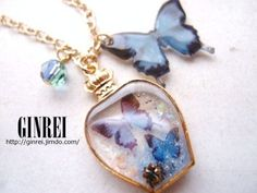 【プラ版+レジン】蝶のネックレス|銀玲 ~ginrei~                                                                                                                                                                                 もっと見る