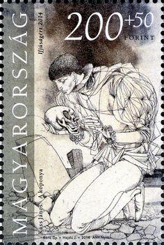Anniversary Birth of William Shakespeare HUNGARY 2014 skull (a koponya) by Kass Janos Popular Hobbies, Postage Stamp Art, William Shakespeare, Stamp Collecting, Hungary, Graphic Design, Illustration, Artist, Album
