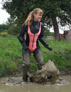Muddy waders and pink wetsuit Mudding Girls, Crotch Boots, Rubber Raincoats, Rain Gear, Puffy Jacket, Girls Wear, Hunter Boots, Riding Boots, Womens Fashion
