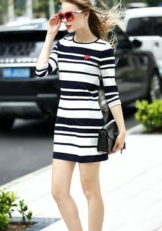 Love the Red Sunglasses paired with the Dress! Blue and White Patchwork Striped Round Neck 3/4 Sleeve Midi Dress #Street #Style #Fashion #Striped #Outfit #Ideas