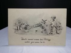 """Post Card """"Don't never cross dee Pridge Until you come to it""""  Two cent stamp"""