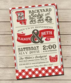 PRINTABLE - Vintage BBQ - Couples / Baby Shower Invitation   by UrbanFrontiers