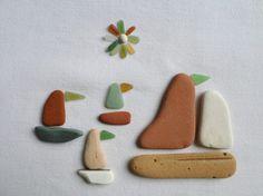 Galets, fragments de poterie , verre de mer polis et plats . Lot de 23 pcs, idéal pour créer des tableaux  minéral , bateaux ou autres.